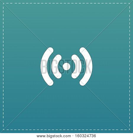 Wi-Fi network. White flat icon with black stroke on blue background