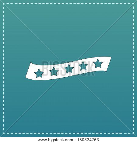 Recommended bestseller star ribbon. White flat icon with black stroke on blue background