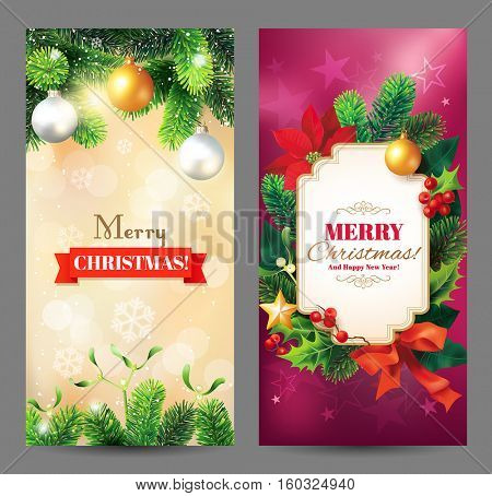 Christmas vertical banners with Christmas decoration, fir branches, poinsettia flowers, baubles and greeting. Vector set.