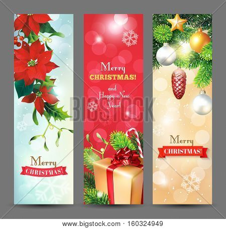 Christmas vertical banners with Christmas decoration, fir branches, cones, poinsettia flowers, baubles, gifts and greeting. Vector set.