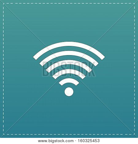 Wireless Network. White flat icon with black stroke on blue background