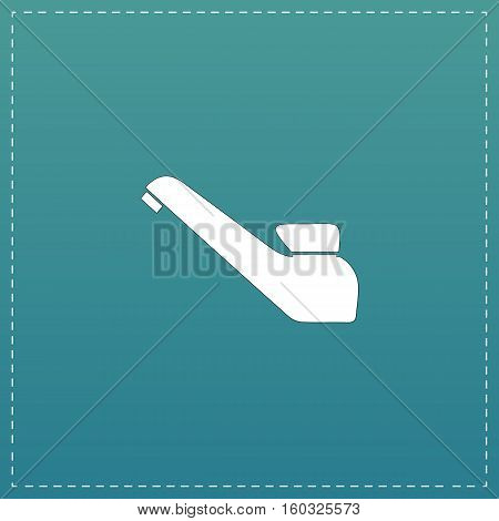 Drinking faucet. White flat icon with black stroke on blue background