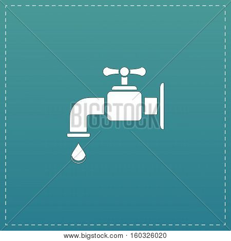 Faucet. White flat icon with black stroke on blue background
