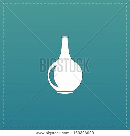 Amphora. White flat icon with black stroke on blue background