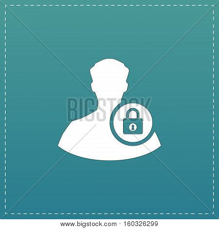 User login or authenticate. White flat icon with black stroke on blue background