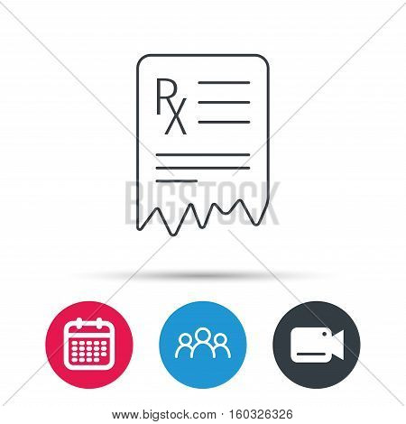 Medical prescription icon. Health document sign. Group of people, video cam and calendar icons. Vector