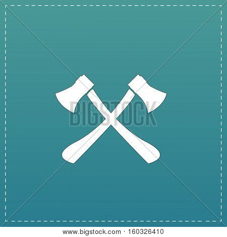 Two axes with wooden handles. White flat icon with black stroke on blue background