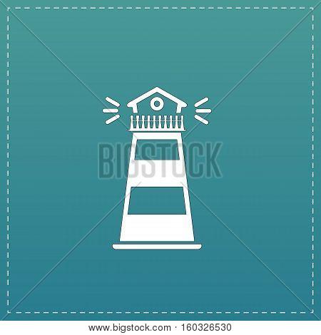 Lighthouse. White flat icon with black stroke on blue background