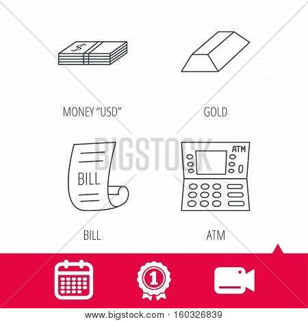 Achievement and video cam signs. ATM, cash money and bill icons. Gold bar linear sign. Calendar icon. Vector