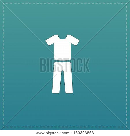 Uniform - pants and t-shirt. White flat icon with black stroke on blue background