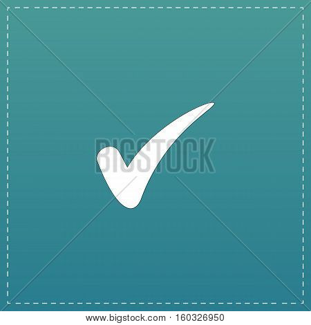 Confirm. White flat icon with black stroke on blue background