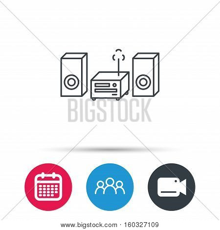 Music center icon. Stereo system sign. Group of people, video cam and calendar icons. Vector