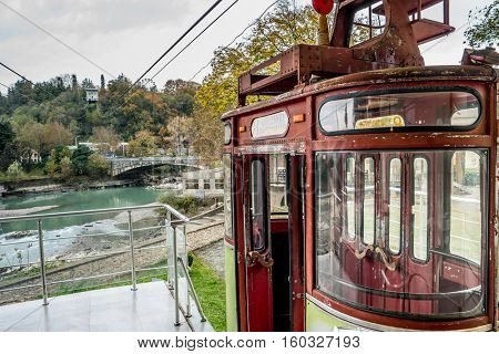 old cableway in Kutaisi center with cityview, Georgia