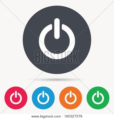 On, off power icon. Energy switch symbol. Colored circle buttons with flat web icon. Vector