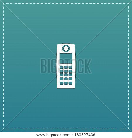 Retro mobile phone. White flat icon with black stroke on blue background