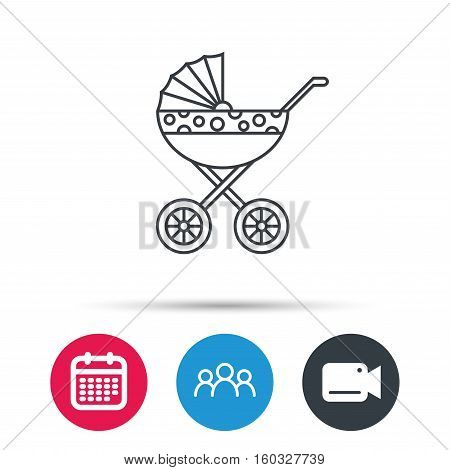 Pram icon. Newborn stroller sign. Child buggy transportation symbol. Group of people, video cam and calendar icons. Vector