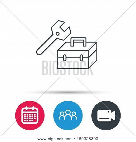 Repair toolbox icon. Wrench key sign. Group of people, video cam and calendar icons. Vector
