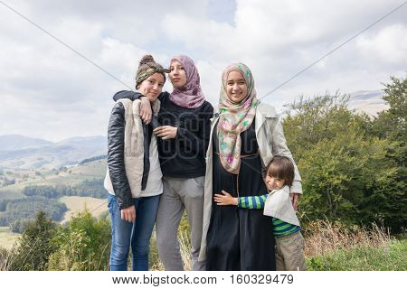 Muslim girls in nature together