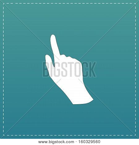 Cursor hand. White flat icon with black stroke on blue background