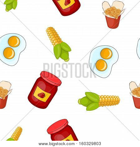 Junk food pattern. Cartoon illustration of junk food vector pattern for web