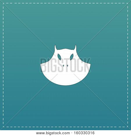 Executioner evil face mask. White flat icon with black stroke on blue background