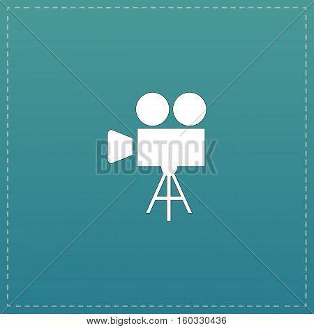 Video film camera. White flat icon with black stroke on blue background