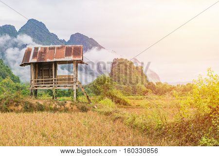 Cottage Or Hut With Mountain In Vang Vieng, Laos