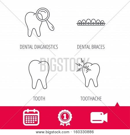 Achievement and video cam signs. Tooth, dental braces and toothache icons. Dental diagnostics linear sign. Calendar icon. Vector