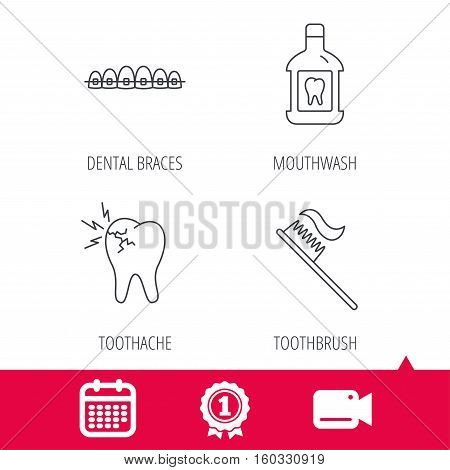 Achievement and video cam signs. Toothache, dental braces and mouthwash icons. Toothbrush linear sign. Calendar icon. Vector