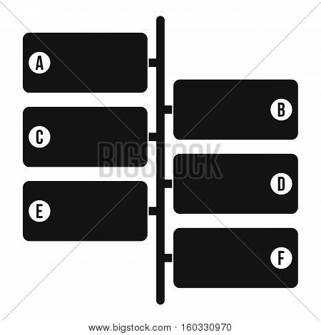 Infographic blocks on signpost icon. Simple illustration of infographic blocks vector icon for web design