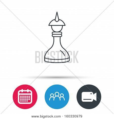 Strategy icon. Chess queen or king sign. Mind game symbol. Group of people, video cam and calendar icons. Vector