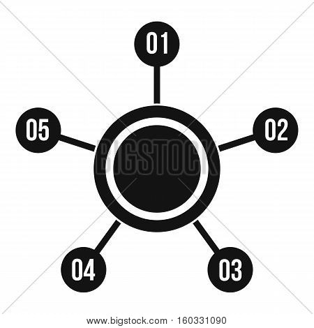 Circle chart with numbers icon. Simple illustration of circle chart with numbers vector icon for web design