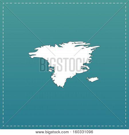 Alaska map. White flat icon with black stroke on blue background