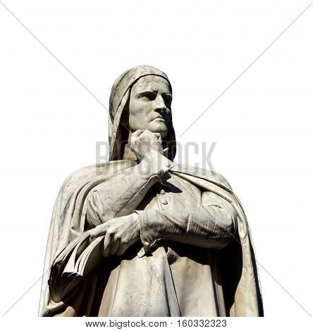 Dante Alighieri the greatest italian poet monument in the center of Piazza dei Signori in Verona made in 19th century (isolated on white background)