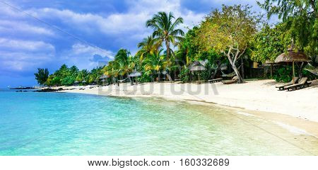 Serene tropical vacation. Beautiful beaches of Mauritius island