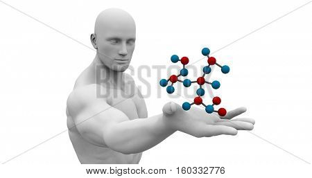 Man Observing and Analyzing Molecule Structure Art 3d Illustration Render