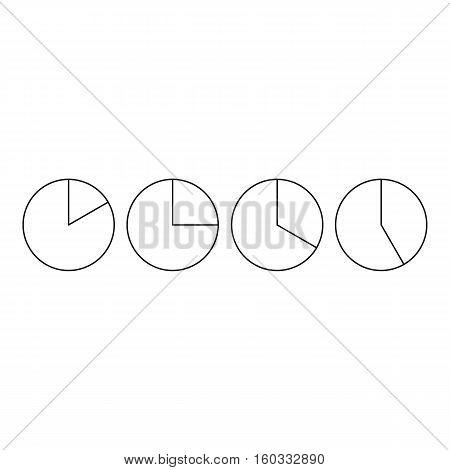 Four circle pie diagrams icon. Outline illustration of four circle pie diagrams vector icon for webicon. Outline illustration of vector icon for web