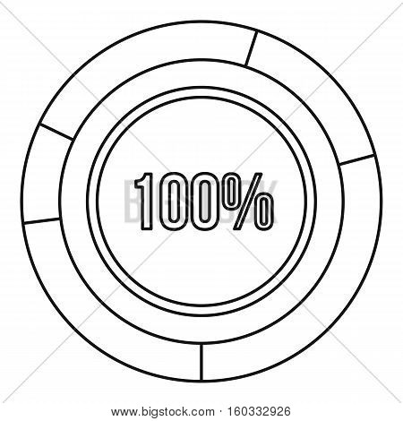 Pie chart circle graph 100 percent icon. Outline illustration of vector icon for webicon. Outline illustration of pie chart circle graph 100 percent vector icon for web