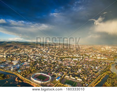 Top view of the city of Ulan-Ude. The Republic of Buryatia. Siberia. Russia.