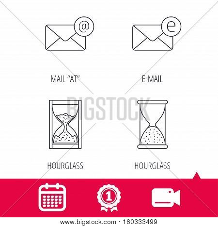 Achievement and video cam signs. Mail, e-mail and hourglass icons. E-mail inbox linear sign. Calendar icon. Vector