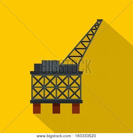 Oil rig platform icon. Flat illustration of oil rig platform vector icon for web isolated on yellow background