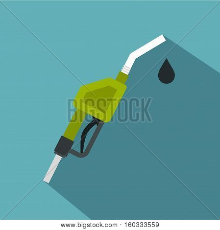 Gasoline pump nozzle icon. Flat illustration of gasoline pump nozzle vector icon for web isolated on baby blue background