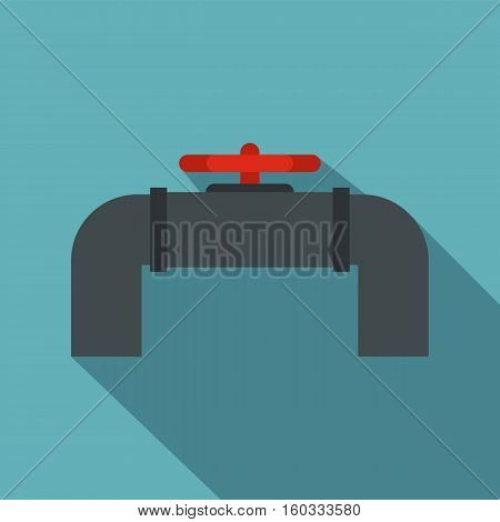 Pipeline with valve and handwheel icon. Flat illustration of pipeline with valve and handwheel vector icon for web isolated on baby blue background