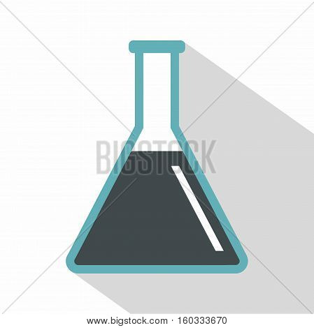 Conical flask test tube with oil icon. Flat illustration of conical flask test tube with oil vector icon for web isolated on white background