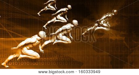 Leadership Concept with Special Employee Outrunning the Competition 3d Illustration Render