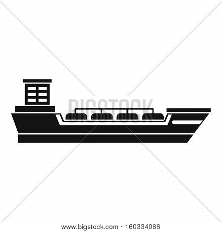 Oil tanker ship icon. Simple illustration of oil tanker ship vector icon for web