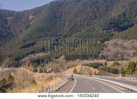 Landscape Of Road In Highway With Beautiful Mountain