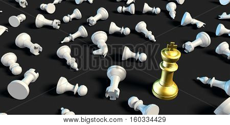 Winner Concept of Chess King Beating the Rest of the Pieces 3d Render