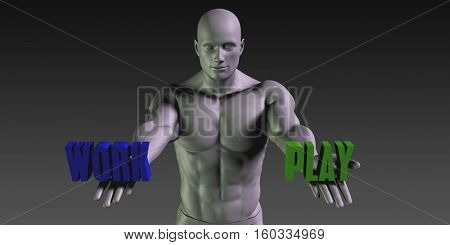 Work or Play as a Versus Choice of Different Belief 3d Render