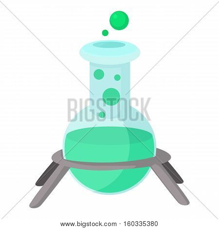 Test flask icon. Cartoon illustration of test flask vector icon for web